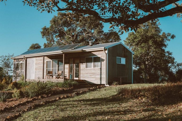Off grid wooden house