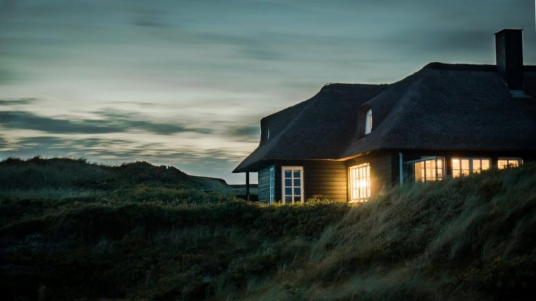 Off-grid living - a house on a hill