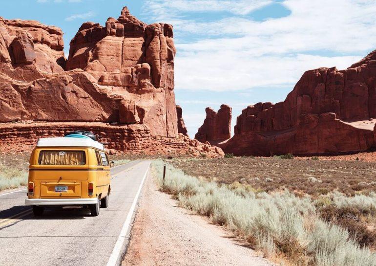 Van on a road