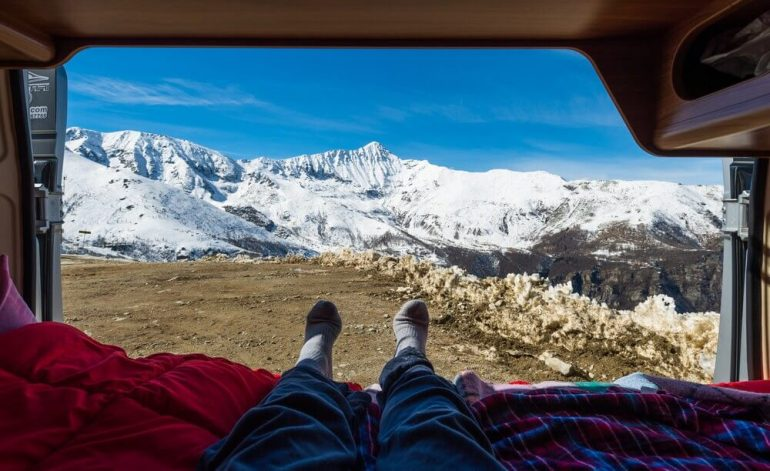 Enjoying a view from a van
