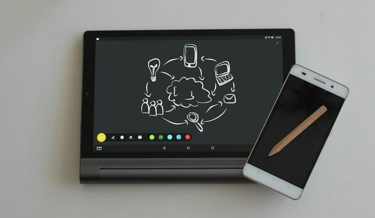 A flip notebook of some sort, a smartphone, and a pencil.