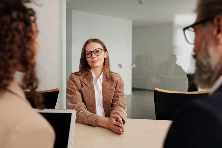 A woman on a job interview.