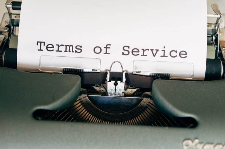 Terms of service written on a paper in a typing machine