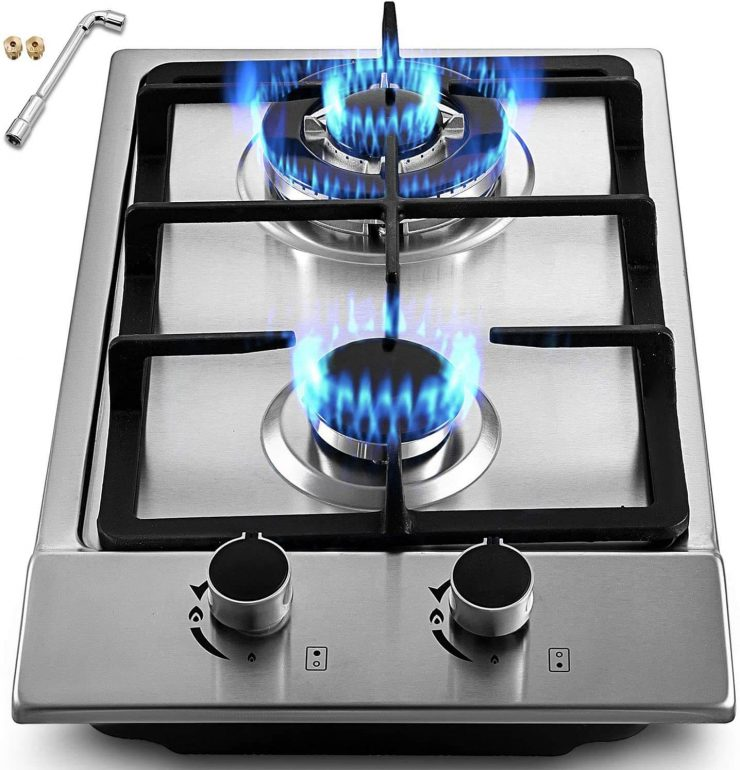 Happybuy 12x20 inches Built-in Gas Cooktop 2 Burners Gas Stove