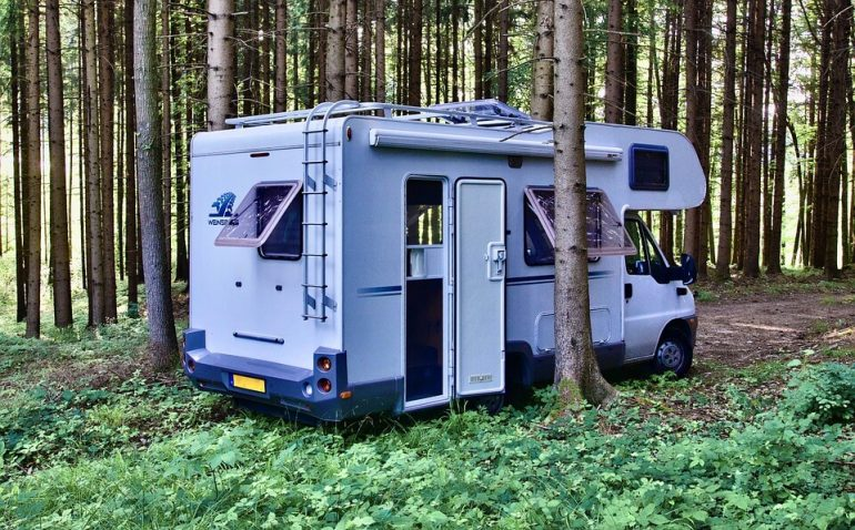 A van parked in the forest