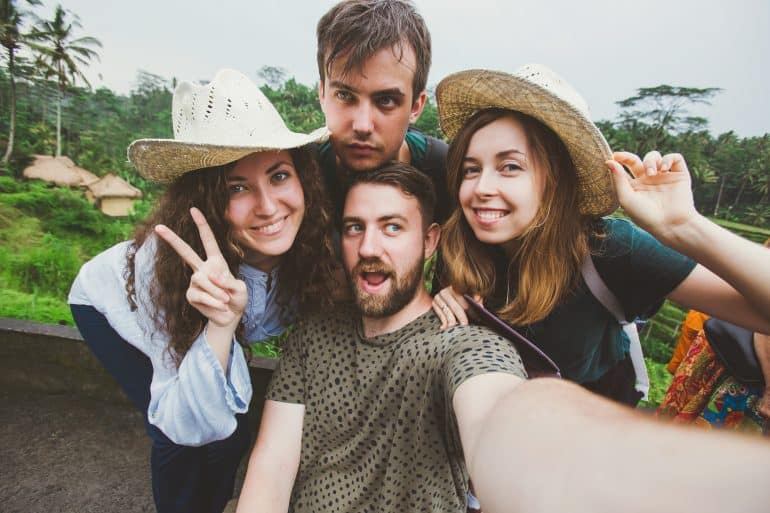 A group of friends take a selfie