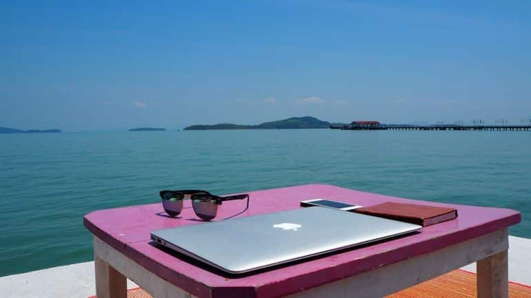 A laptop and sunglasses