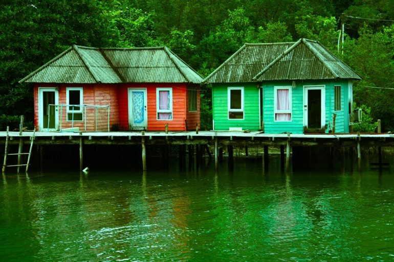 Tiny homes over a water