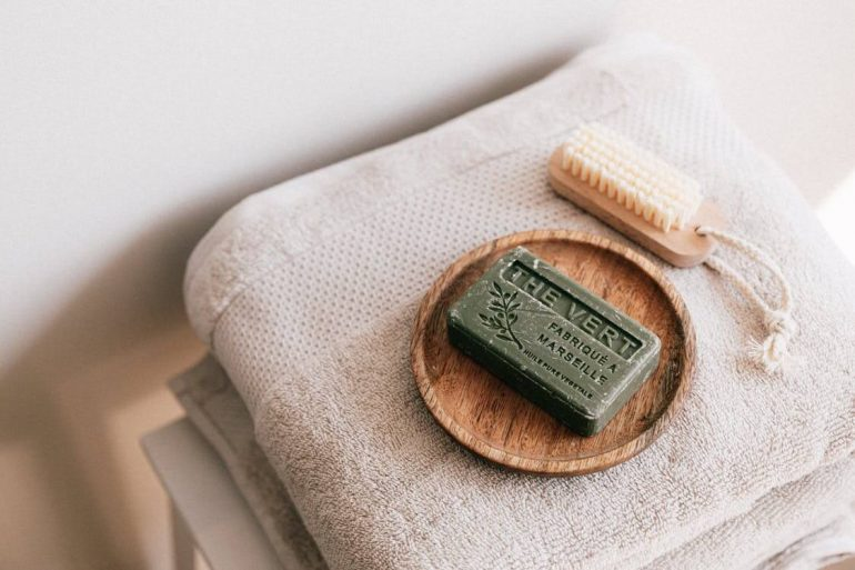 Natural soap on a towel