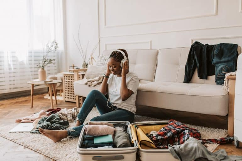 A girl packing for a trip