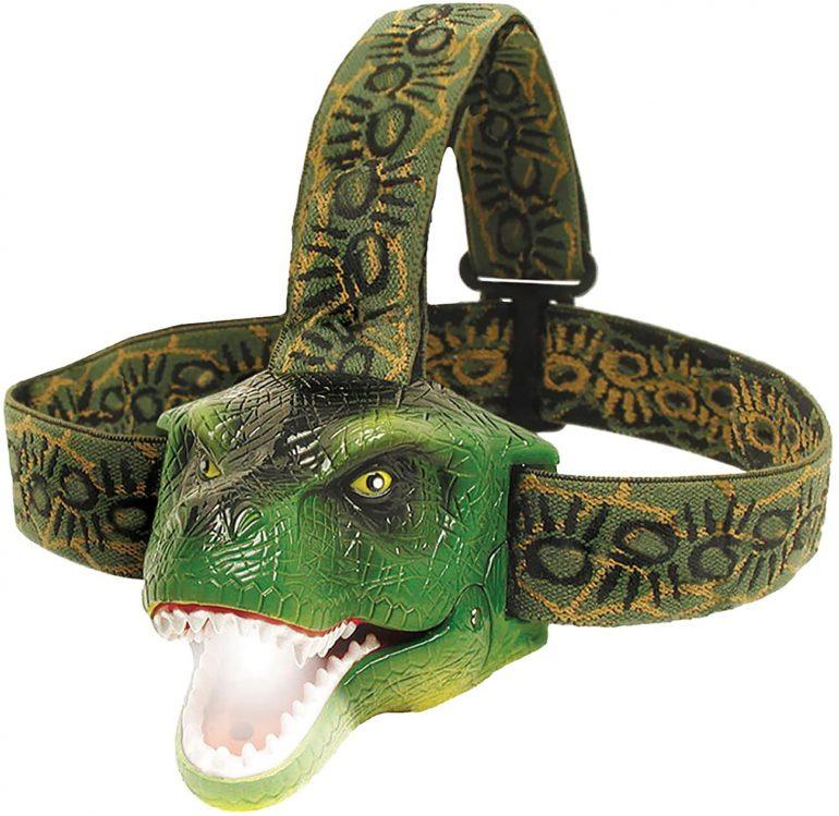 a dinosaur-shaped headlamp