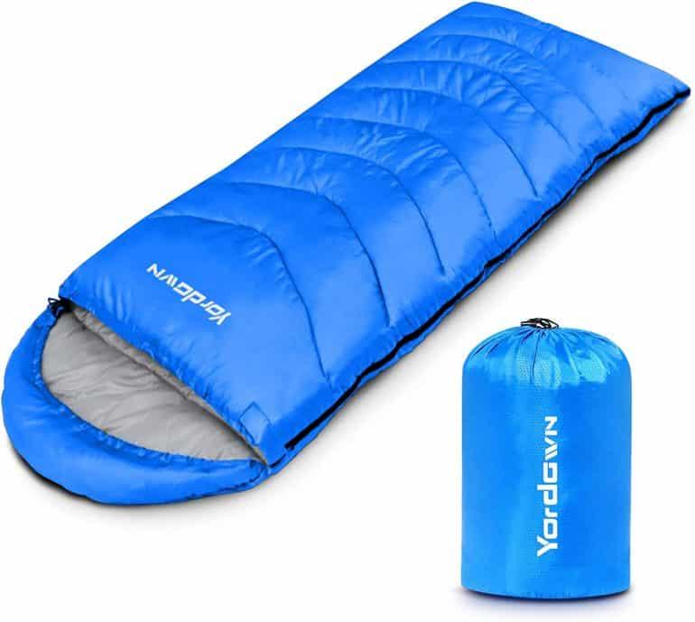a blue sleeping bag