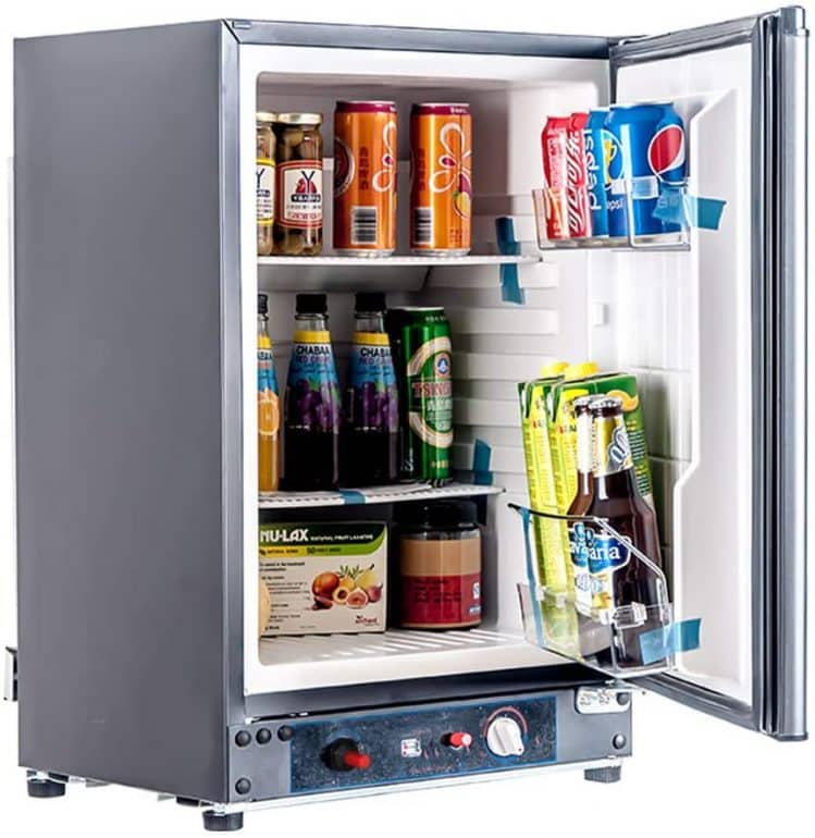 an image of a refrigerator with a glass door
